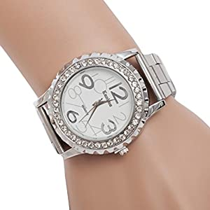 Dreaman Unisex Crystal Rhinestone Alloy Stainless Steel Analog Quartz Wrist Watch Silver