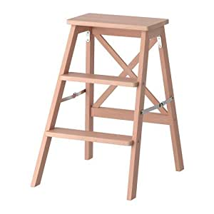Solid Wood Folding 3 Steps Stepladder Easy Storage Colour beech