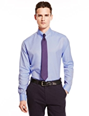 Autograph Luxury Pure Cotton Herringbone Slim Fit Shirt