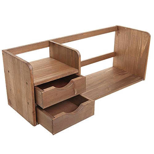 Mygift decorative brown wood office desk drawer organizer