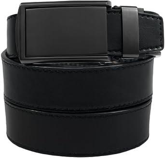 SlideBelts Men's Matte Black Leather Belt - Custom Fit (Black Leather with Matte Black Buckle)