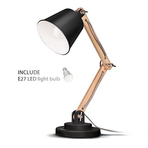 Tomons-schwenkbare-Schreibtischlampe-Retro-Design-fr-Schreibtisch-und-Nachttisch-Designer-Lampe-fr-Arbeitszimmer-Bro-Schlafzimmer-und-Wohnzimmer-inkl-LED-Leuchtmittel-Schwarz