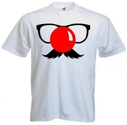 Comic Relief Custom Red Nose Day T-shirt Funny Mustache Geek Tshirt