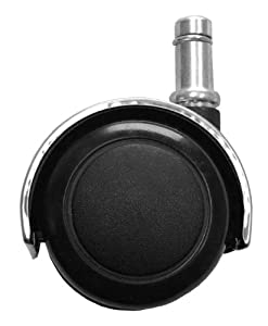 2 Chrome Hooded Replacement Hard Floor Casters For Office C