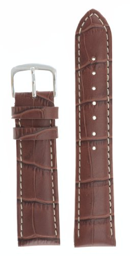 Mens Alligator Grain Watchband Natural Matte Finish Brown 20mm - by JP Leatherworks