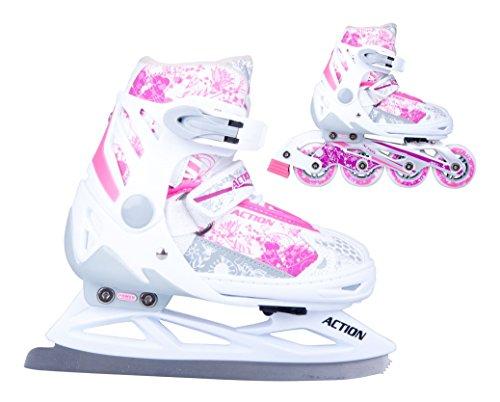 2in1-Schlittschuhe-Inliner-Pinkola-ABEC5-pink-wei-Gr-31-34-35-38-39-42-verstellbare-Mdchen-Skates