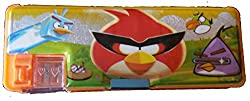 Fancy Large size Pencil Box (Angry birds ) with Dual Sharpener for kids orange
