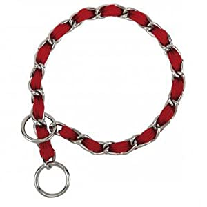 Guardian Gear 26-Inch Steel Dog Choke Chain with Nylon Webbing, Red