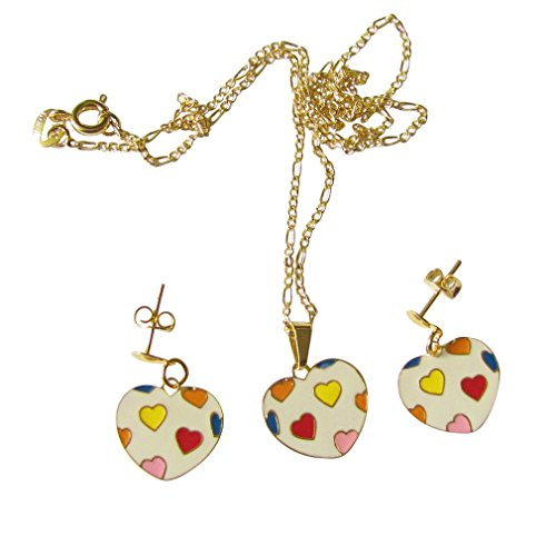 Gold Overlay Colorful Hearts Within Heart Three Piece Set Necklace With Pendant And Earrings
