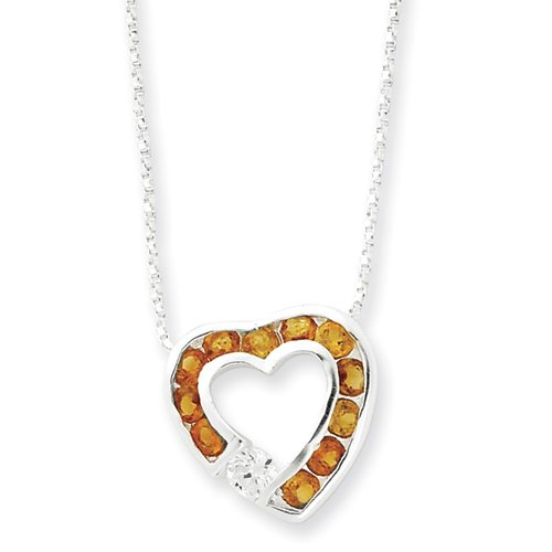 Sterling Silver Citrine & CZ Heart Slide on 18 Chain Necklace