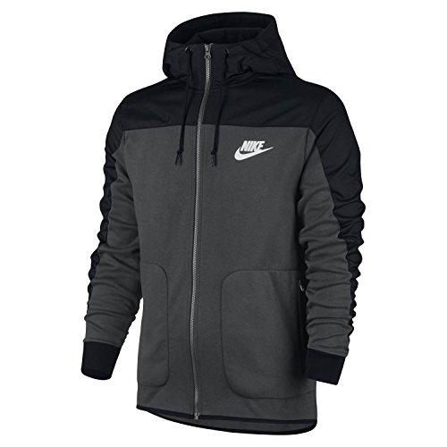 Nike Mens Sportswear AV15 Full Zip Hooded Sweatshirt Anthracite/Black/White 807415-060 Size 2X-Large