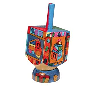 Yair Emanuel Small Wooden Dreidel with Designs of Toys and Stand