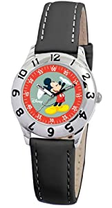 Disney Kids' D798S006 Mickey Mouse Time Teacher Black Leather Strap Watch