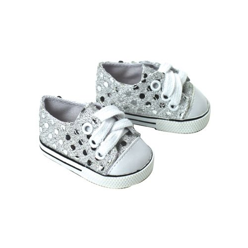 18 Inch Doll Sneakers. Silver Glitter Doll Sneakers Shoes Fit 18