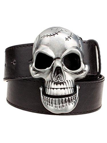 Moolecole Mens Skull Head Buckle Belt Fashion Jeans Decorative Belt Black