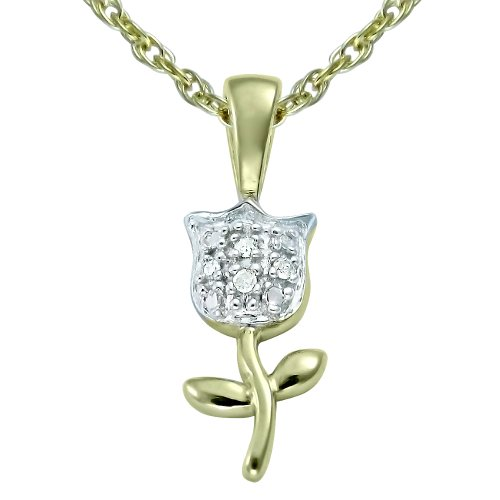 10K Gold Overlay Silver Diamond Pendant Necklace (0.05 cttw, I-J Color, I2-I3 Clarity)