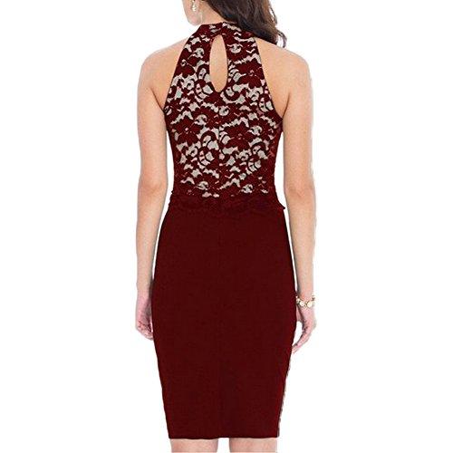 WOOSEA® Women's Elegant Sleeveless Floral Lace Vintage Midi Cocktail Party Dress ( Medium , Burgundy)