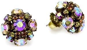 "Sorrelli ""Tapestry"" Crystal Cluster Stud Gold-Tone Earrings"