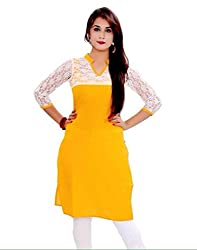 Yellow & White Color Cotton Printed Semi-Stitched Kurti-H470KIC2003CN by Surat Tex