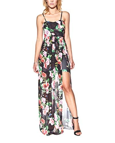 Candy Abito Maxi With Floral Print And Maxi Side Opening [Nero]