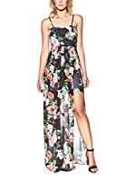 Candy Vestido Maxi With Floral Print And Maxi Side Opening (Negro)