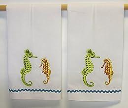 Elegant Embroidered Sea Horse Hand Towels - Set of 2