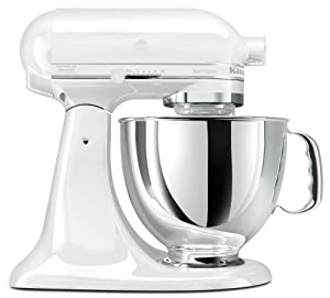 KitchenAid KSM150PSWW Artisan Series 5-Quart Mixer, White on White