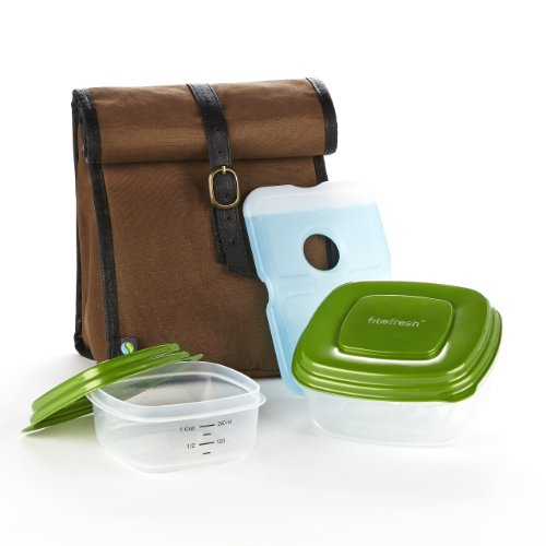 Fit & Fresh Men's Classic Lunch Bag Kit with Sandwich and Side Reusable Containers, Dark Brown - 1