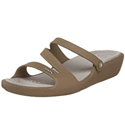 crocs Women\'s Patricia Mini Wedge,Khaki/Pearl,6 M US