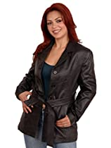 LEATHER.COM Ladies Leather Belted Jacket SIZE M