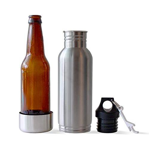Stainless Steel Bottle Can Cooler and Beverage Insulator with Opener - Pack of 2 - Fits most 12 Oz. bottles - Beverage cooler and holder (K Cup And Water Cooler compare prices)