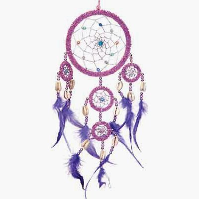 1 X Dreamcatcher Beaded Purple Feathers Iridescent