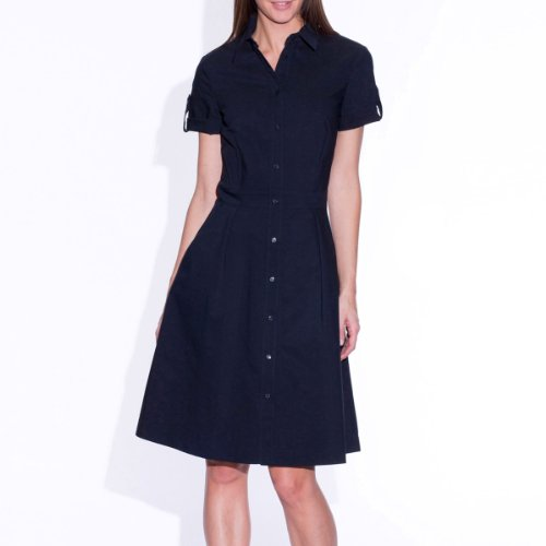 Short-sleeved stretch poplin shirt-dress midnight blue 6 picture