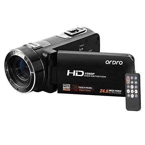 デジタルカメラ ORDRO HDV-Z8 1080P Full HD ビデオカメラ 16× デジタルズーム デジタル回転式 LCDタッチスクリーン付き マックス24メガピクセル 顔検出がサポートする