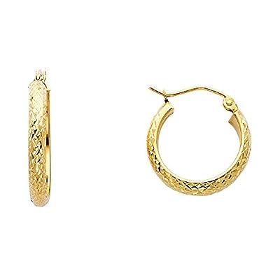 Wellingsale® Ladies 14k Yellow Gold Diamond Cut Polished 3.5mm Hoop Earrings (18 x 18 mm)