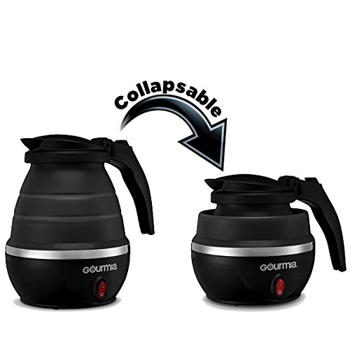 Gourmia GK360B Travel Foldable Electric Kettle - Food Grade Silicone, Collapses for Easy & Convenient Storage, Boil Dry Protection, .75 Quart - Black (Travel Kettles compare prices)