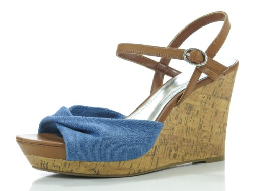 Style & Co Vanessa Womens Size 9 Blue Denim Open Toe Textile Wedge Sandals Shoes front-877722