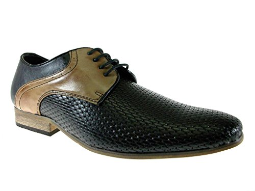 Imarc Men'S Casanova Two Tone Woven Derby Oxfords, Black/Tan, 10.5