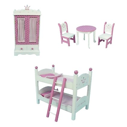 "18"" Inch Doll Bunk Bed - Armoire- Table & Chairs Furniture Bundle Fits American Girl Dolls"