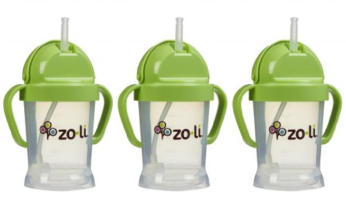 Zoli Baby BOT Straw Sippy Cup 6 oz - 3 Pack, Green/Green/Green