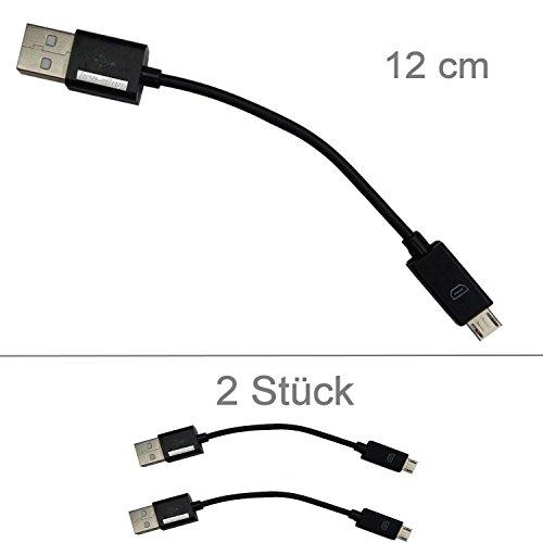 KRS - 2xSK5 - Kurzes USB SYNC short cable kabel kurz Datenkabel Ladekabel Micro USB für Samsung Galaxy S2 S3 S3 mini S4 S4 S5 mini /mini HTC One Nokia Sony Ericsson ca 12 cm schwarz / 2 Stück