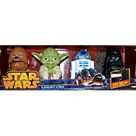 "Star Wars Flashlights 4 Pack Yoda Darth Vader R2D2 Chewbacca NEW 5"" Batteries"
