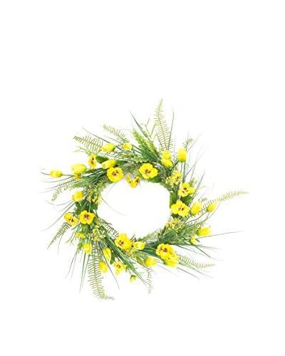 Melrose Pansy Tulip Fern Grass Wreath, Green/Yellow