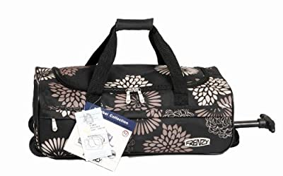 Frenzy, Mumbai, world's lightest ultra light flight bag carry on wheeled luggage holdlall, fits 55x 40 x20cm ryan air/easy jet - only 1kg, 53x29x20cm exact dimension, 29L capacity (Black) by USB International