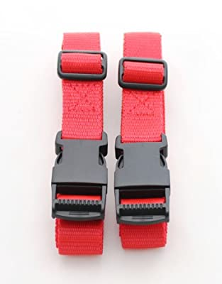 "2 x Suitcase / Luggage Straps - Adjustable 86-162cm (34-64"") Side Release Clips - RED from Harness Master"