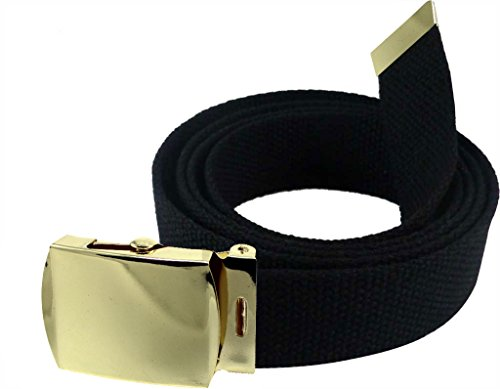 "Enimay 56"" Military Canvas Web Belt w/ Gold Roller Buckle Black"
