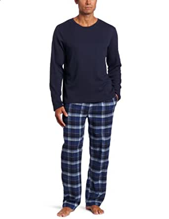 Dockers Men's Gift Set Waffle Crew With Flannel Pant, Navy, Small