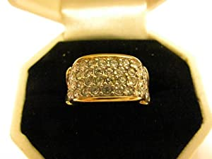 "Vintage - AVON - ""Elizabeth Taylor"" Brilliance Collection - Rhinestone RING (Size - 7) with 22 KT Gold Overlay - Jewelry"