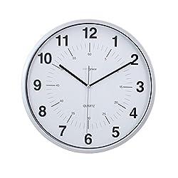 Kiera Grace Synchro, Silent Wall Clock, Non-Ticking, 12 Inch, 3/4 Deep, Silver
