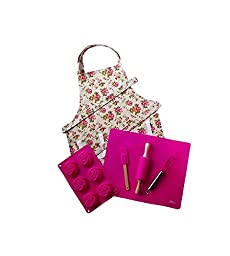 Pink Kids Baking Set with Matching Personalized Floral Apron by Dikor